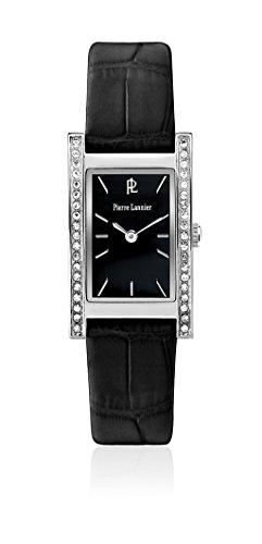 Pierre Lannier- Week End Basic - 007G633 -Reloj de mujer, movimiento de cuarzo, analógico, esfera negra, correa de piel negra