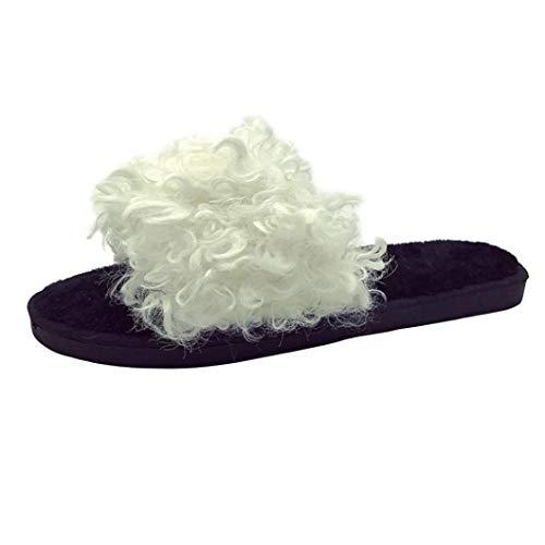 Pantofole in pelliccia sintetica, honestyi ciabatte da donna, flip flops, scarpe casual con tacco piatto, antiscivolo, pantofola donna scarpe da spiaggia scarpe basse sandali