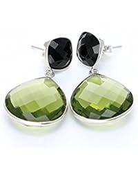 d4e3eb58e441 AILORIA MAGNOLIA Pendientes de plata 925 con ónix negro y amatista verde