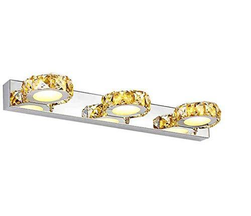 46CM Modern LED Spiegelleuchte bad Design Spiegellicht Kristall 3-Flammig Spiegellampen Acryl Badwandlampe Badezimmer schminkspiegel Warmes Licht IP44 9W 630LM [Energieklasse A++]