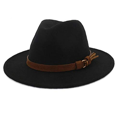 Zonfer Fedora-Hut mit Leder-Band-Gentleman-eleganter Dame Wide Brim Jazz Kirche Panama Sombrero Cap Schwarz - Sombrero Panama