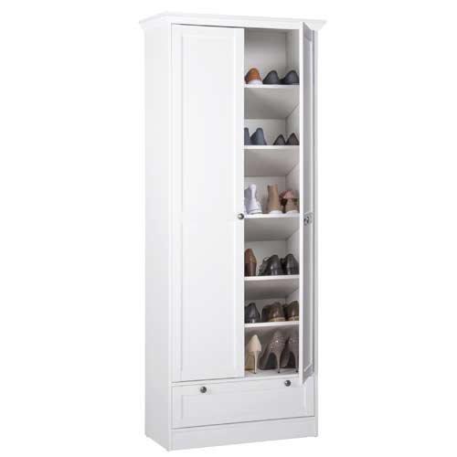 Mehrzweckschrank in weiß, mit 2 Türen, 1 Schubkasten, 5 Einlegeböden, Metallknöpfe im Vintage-Look dezenter Sockelblende, Maße: B/H/T ca. 80/200/39 cm - 3