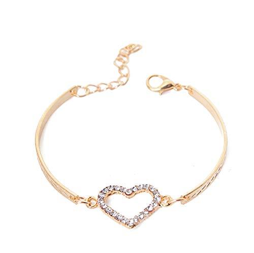 yangyueyue Mode Kristall Herz Charme Armbänder für Frauen Armreif Schmuck Gold Farbe Gliederkette Armband Hochzeit Liebe Kostüm pulseira