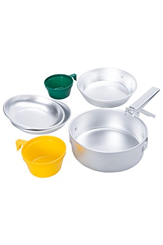 Mountain Warehouse 2 Person Cook Set - Dinner Set, Lightweight Aluminium Cookwate Set, Compact, Easy To Pack, Plates, Cups, Saucepan, Frying Pan - For Camping & Outdoor Silver
