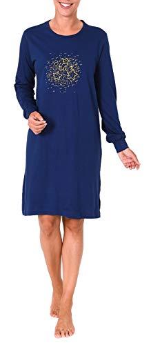 NORMANN WÄSCHEFABRIK Elegantes Damen Nachthemd Bigshirt Langarm mit Herzmotiv - 281 213 90 220, Farbe:Marine, Größe2:40/42
