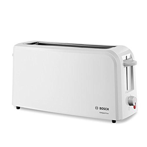 Bosch TAT3A001 - Tostadora de rebanada larga, 980 W, para 2 rebanadas de pan, color blanco