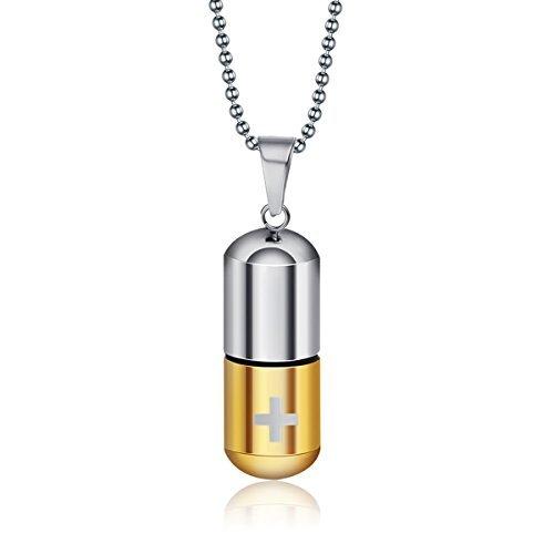 HooAMI Memorial Schmuck,Edelstahl Kreuz in Form von wunderschönen Kapseln Parfüm-Flaschen Anhänger Halskette,Vergold