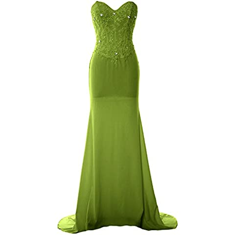 MACloth Women Mermaid Strapless Jersey Prom Dress Wedding Party Evening Gown