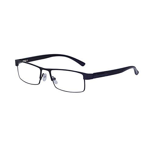 Lesebrillen für Herren Schwarz +1.5 (50-54 Jahre) Rahmen Rechteck Metall Presbyopische Gläser mit Etui