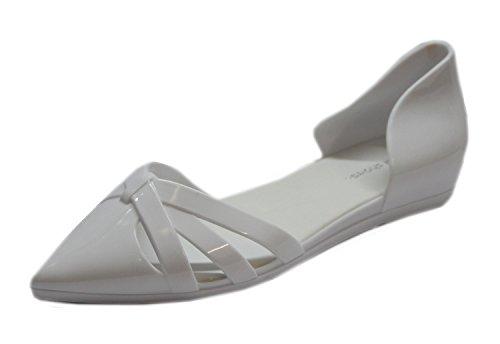 """Chaussure plate d'été bout pointu en plastique """"Jal"""" Blanc"""