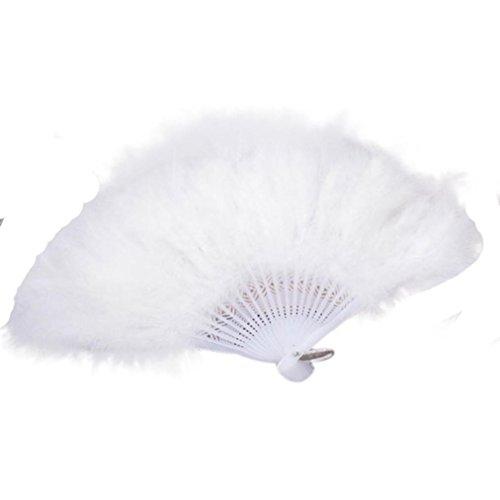 (Zarupeng Faltbar Federfächer für Hochzeit Showgirl Tanzabend Gartenfeste, Elegante Handfächer mit Große Feder, Falten Hand Fans Dekoration (One Size, Weiß))