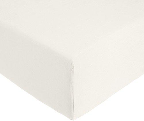 AmazonBasics 'Everyday' Spannbetttuch aus 100%, Baumwolle, 140 x 200 x 30 cm - Elfenbein -