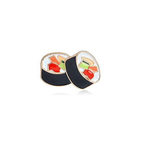 FSAKLFS I Love Sushi Simpatico Cibo Giapponese Kawaii Gimbap Foglio di Alghe Salmone Nori Sushi Spille con Gamberetti Spille con Smalto Carino Spille Decor