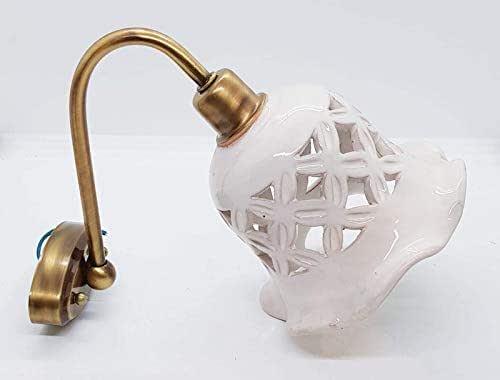 Applique Traforato Bianco Ceramica + Braccetto in Acciaio e Parti elettriche Le Ceramiche del Castello Pezzo Unico Handmade Made in Italy