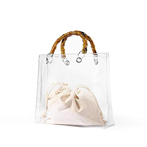 Leiyini Liyini Tragbare Jelly Bag Transparente PVC Strandtasche Damen Transparente Handtasche Sommergelee Umhängetasche Clutch Geldbörse Umhängetasche Strandtasche Mit Bambusgriff -