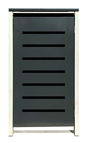 BBT@ | Hochwertige Mülltonnenbox für 2 Tonnen je 120 Liter mit Klappdeckel in Grau / Aus stabilem pulver-beschichtetem Metall / Stanzung 6 / In verschiedenen Farben sowie mit unterschiedlichen Blech-Stanzungen erhältlich / Mülltonnenverkleidung Müllboxen Müllcontainer - 8