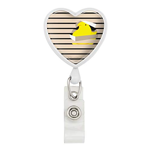 The Peeping Yellow Peep in Window with Jalousien Heart Lanyard Retractable Reel Badge Holder – White