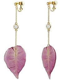 Karatcart Metal Gold Pink Synthetic Leaf Drop Earrings For Women