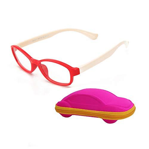 Kinder Brillenfassung Ohne Stärke Klar Glas für Jungen & Mädchen Alter 5-12 + Brillenetuis