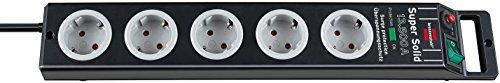Brennenstuhl Super-Solid, Steckdosenleiste 5-fach mit Überspannungsschutz (2,5m Kabel und Schalter - aus bruchfestem Polycarbonat) Farbe: schwarz/grau