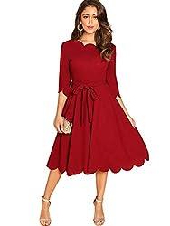 DIDK Damen Skaterkleid Rundhals 3/4 Arm Cocktailkleid Vintage Kleid Abendkleid mit Gürtel Swing Faltenkeid Freizeitkleid Partykleider Knielang A Linie Rot S