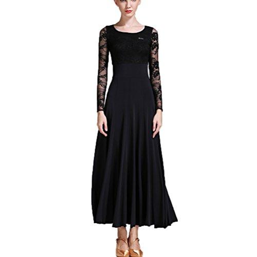 MoLiYanZi Modernes Tanzkleid National Standard Kleid Ballsaal Rock Sozialtanz Walzerkleid Spitzen-Ärmel Übe Kostüm Tanzabnutzung, M (Rock Spitze Schleier Tanz Kostüm)