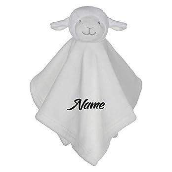 Schmusetuch mit Namen bestickt Kuscheltuch Schnuffeltuch weißes Schäfchen für Baby Kinder Junge Mädchen