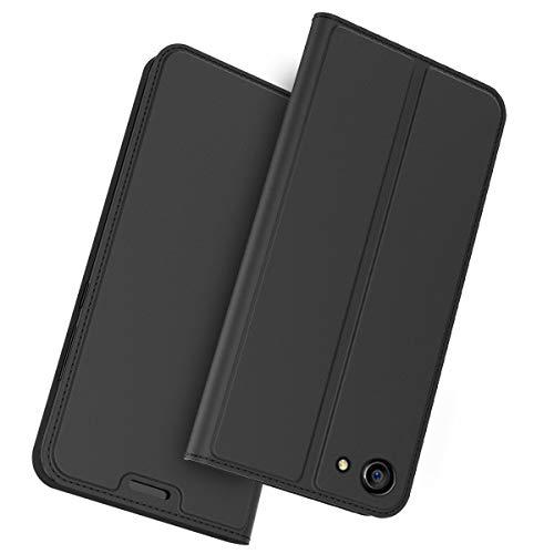 FugouSell Oppo A83 Leder Hülle, Premium PU Leder etui Schutzhülle Tasche mit Kippständer, Slim Flip Case Cover für Oppo A83(Schwarz)