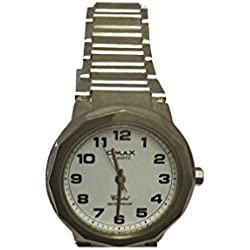 Omax Mens Wrist Watch Silver Stainless Steel Strap Analog