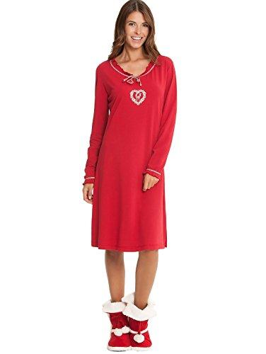Taubert chemise de nuit à manches longues pour femme avec tête de cerf décorative de noël rouge Rouge - Rouge