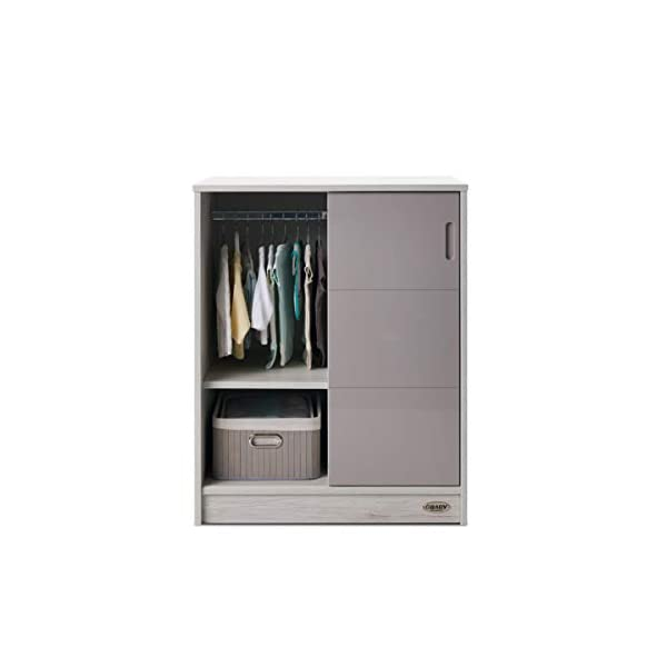 Obaby Madrid Storage Unit, Lunar Obaby Left side offers the option of a hanging rail and shelf or three shelves Right side has 3 fixed shelves Option to add the removable changing top to turn into a changing unit 4