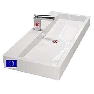 Design-Waschbecken/Waschtisch 100cm zur Wandmontage oder als Aufsatzwaschbecken mit 1 Armaturloch | 100x42x10cm | Mineralguss | hochwertig Made in EU