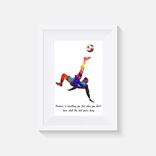 Fußball Inspiriert Zitat - Drucken - Poster - Aquarell - Wandkunst- verschiedene Größen(Rahmen Nicht Inbegriffen) - Fußball Inspirierende