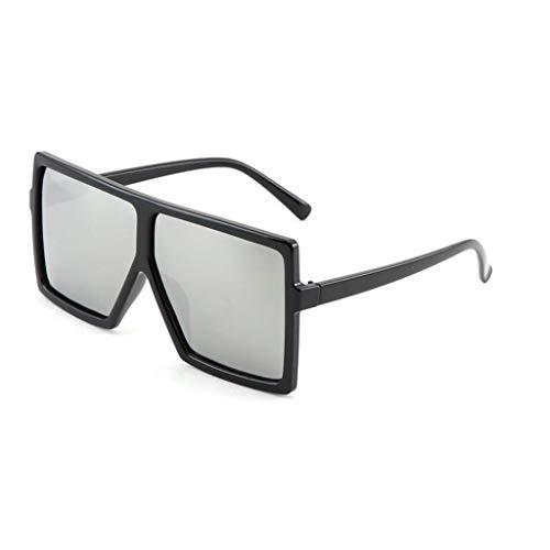 YIWU 2019 Neue Sonnenbrille weibliche persönlichkeit Sonnenbrille männer und Frauen großen Rahmen Platz polarisator schwarz superbrille (Color : Black+Silver)