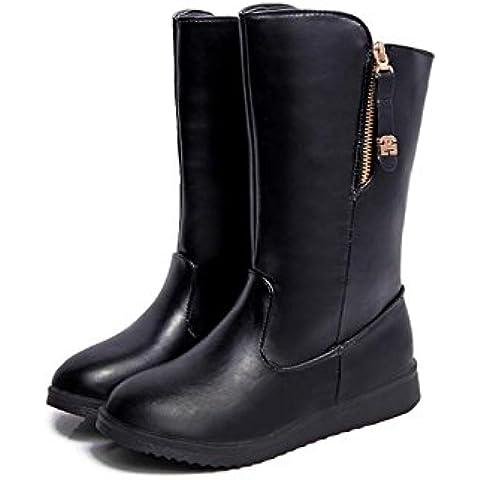 Resbalón de botas de mujeres delgadas de Europa para mantener el calor en invierno nieve Botas lado cremallera arranque , black ,