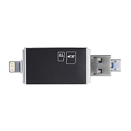 Semoic USB3.0 3 in 1 Flash-Laufwerk zu SD-Kartenleser USB, Speicher TF-Karten-Viewer-Adapter, Unterstuetzung SD Micro-SDXC/SDHC UHS-I Karte 3 in 1 (schwarz)