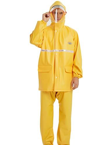 TXDTX-Raincoat Wasserdichte Regenbekleidung PVC-Material Mit Kapuze Regenmantel Anzug Erwachsene MäNner Und Frauen Im Freien Camping Reiten Regenmantel Gelb (Erwachsenen-raglan-langarm)
