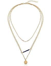 KnBoB Collares De Mujer Oro Collares Best Friends Chapado En Oro Cable Alargado 3 Capas Collar Multicapa Mujer