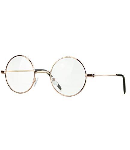 Caripe Lennon Retro Vintage Sonnenbrille Metall Damen Herren rund Nickelbrille (507 - Gold - klar)