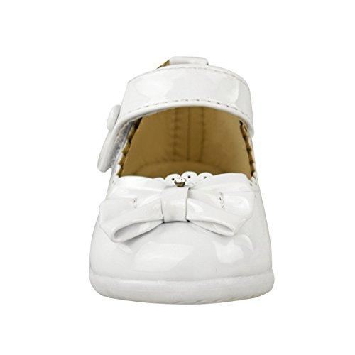 Bambine Per Bambini Patent Sandali Romani Carrozzina Matrimonio Battesimo Festa Scarpe Misura Vernice Bianca