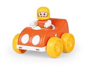 Lena 01572 My First Racers - Coche de Carreras con Juguete y Figura móvil para piloto, Coche de Carreras para Empujar y rodar, Juguete para bebés y niños pequeños a Partir de 12 Meses, Color Naranja