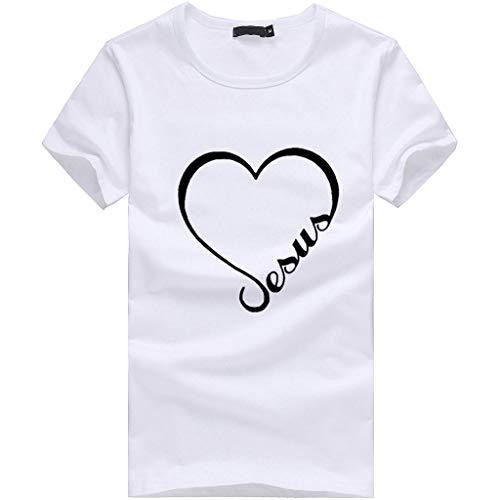 4293156fea Hucode T-Shirt a Maniche Corte Stampata Donne Ragazze Plus Size Lettera  Stampa Tees T-Shirt T Shirt Blouse Tops(Bianco, S)