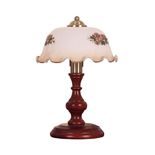 WOAINI Tischlampe Klassische Studie Büro Schlafzimmer Nachttischlampe LED Retro Kreative Schreibtischlampe Massivholz Dekorative Glas Schatten Beleuchtung E27 -