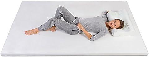 Pharmedoc Sur-matelas en mousse à mémoire–5,1cm épais et doux Lit Overlay Pad–42–La meilleure mise en veille en soulageant les douleurs de dos et articulaires–Réducteur de pression–Twin Twin XL Queen–Blanc, Queen Size