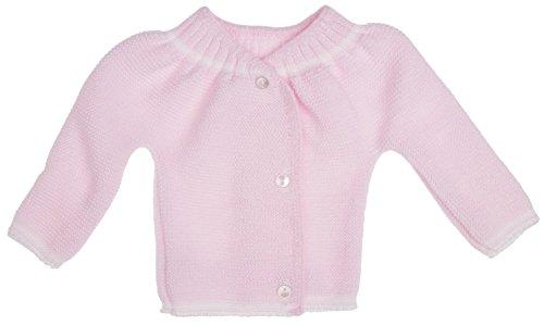 Brassière de naissance bébé 3 boutons (rose layette), tricotée en Franc