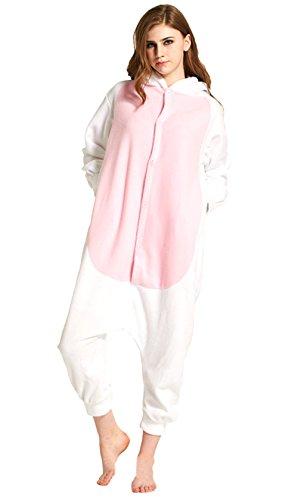 Honeystore Unisex Ziege Kostüm Erwachsene Tier Jumpsuits Onesie Pyjamas Nachthemd Nachtwäsche Cosplay Overall Hausanzug Fastnachtskostüm Karnevalskostüme Faschingskostüm Kapuzenkostüm XL