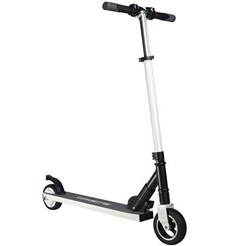 MegaWheels Patinete Eléctrico Plegable Scooter 8.5kg Ultra Ligeros Velocidad Máxima 23km/h para Corta Distancia, Adolescentes y Adultos (Blanco)