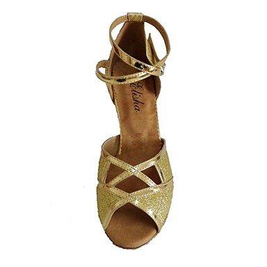 Scarpe da ballo-Personalizzabile-Da donna-Balli latino-americani / Salsa-Tacco su misura-Vernice / Brillantini-Nero / Marrone / Argento / Black