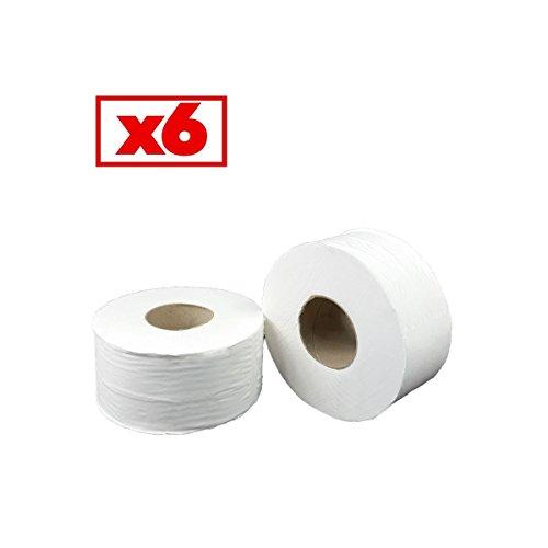 papier-hyginique-mini-jumbo-pure-ouate-blanche-2x17g-m-pack-de-6-rouleaux-t180-mtres-dimension-88x12