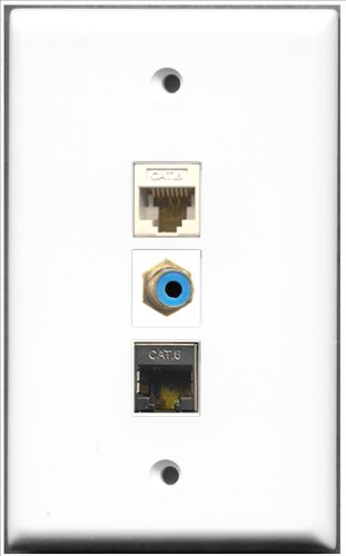 RiteAV-1Port RCA blau und 1Port geschirmt, Cat. 6Ethernet 1Port Cat6Ethernet weiß Wall Plate Rca Modular Wall Outlet